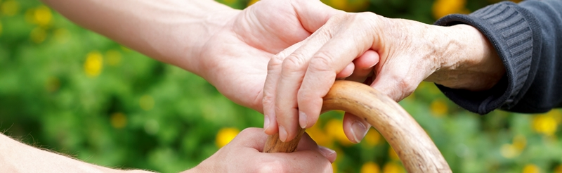 Close up of hands - a young person helping an older person walking
